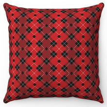 "Load image into Gallery viewer, Red Diamond Buffalo Pattern 18"" x 18"" Throw Pillow"