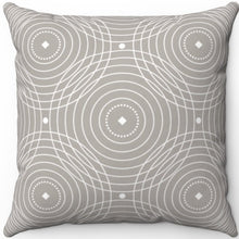 "Load image into Gallery viewer, Delicate Grey & White Filigree Pattern #Seven 18"" x 18"" Square Throw Pillow"