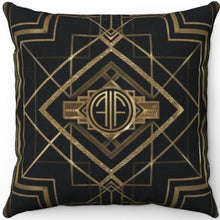 "Load image into Gallery viewer, Gatsby Gold & Black 20"" x 20"" Throw Pillow Cover"