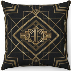 "Gatsby Gold & Black 20"" x 20"" Throw Pillow Cover"