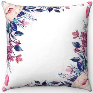"Flower Wallpaper Watercolor 16"" 18"" Or 20"" Square Throw Pillow Cover"