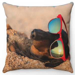"Lazy Beach Dog 16"" Or 18"" Square Throw Pillow"