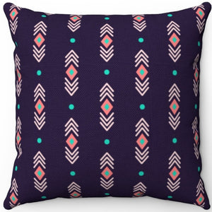 "Pastel Abstract Navy Boho Pattern 16"" 18"" Or 20"" Square Throw Pillow Cover"