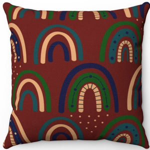 "Bohemian Rainbows Too 18"" x 18"" Square Throw Pillow"