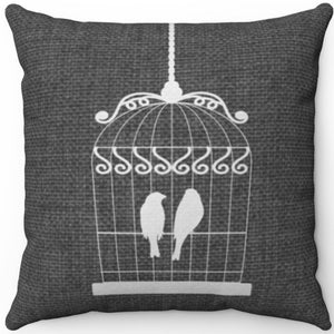 "White Birds In Cage On Grey 16"" 18"" Or 20"" Square Throw Pillow Cover"