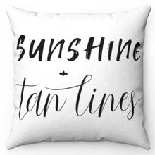 "Load image into Gallery viewer, Sunshine + Tan Lines Black & White 18"" x 18"" Throw Pillow"
