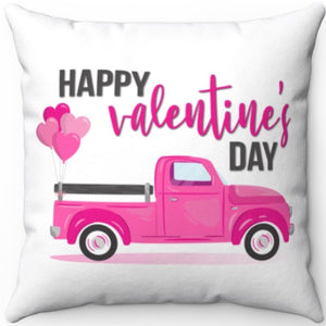 "Happy Valentines Day Vintage Truck 18"" x 18"" Square Throw Pillow"