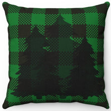 "Load image into Gallery viewer, Silhouette Trees On Green & Black Plaid 16"" Or 18"" Square Throw Pillow"
