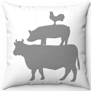 "Farm Animal Stack Grey On White 18"" x 18"" Square Throw Pillow"