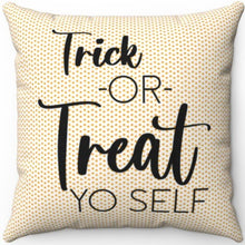 "Load image into Gallery viewer, Candy Corn Trick Or Treat Yo Self 18"" Or 20"" Square Throw Pillow Cover"