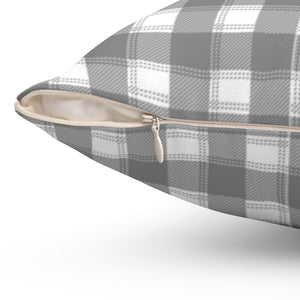 "Pretty Grey & White Plaid 16"" 18"" Or 20"" Square Throw Pillow Cover"