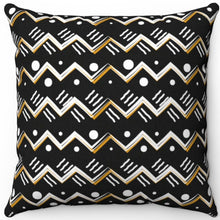 "Load image into Gallery viewer, Boho Style Dark Mountain Pattern 16"" 18"" Or 20"" Square Throw Pillow Cover"