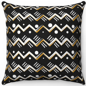 "Boho Style Dark Mountain Pattern 16"" 18"" Or 20"" Square Throw Pillow Cover"