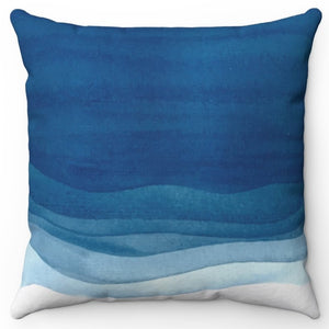 "Blue Wave 18"" Or 20"" Square Throw Pillow Cover"