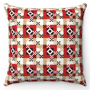 "Gold Red & Black Buffalo Pattern 18"" x 18"" Throw Pillow"