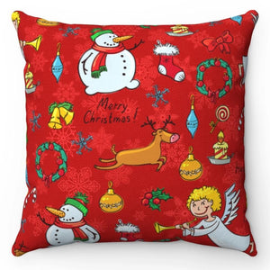 "Snowman And Angels 18"" x 18"" Throw Pillow Cover"