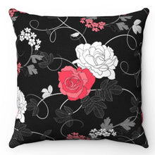 "Load image into Gallery viewer, Ornate Roses Black, Red & White 18"" x 18"" Throw Pillow Cover"