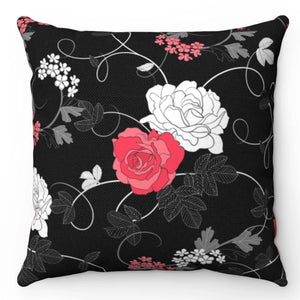 "Ornate Roses Black, Red & White 18"" x 18"" Throw Pillow Cover"