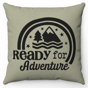 "Ready For Adventure 18"" Or 20"" Screen Printed Throw Pillow Cover"