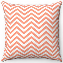 "Load image into Gallery viewer, Chevron Stripe In Atomic Tangerine 16"" Or 18"" Square Throw Pillow Cover"
