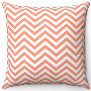"Chevron Stripe In Atomic Tangerine 16"" Or 18"" Square Throw Pillow Cover"