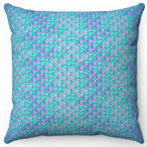 "Mermaids Tail Scale 16"" x 16"" Square Throw Pillow"