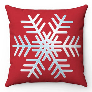 "Red & White Snowflake 18"" x 18"" Throw Pillow"