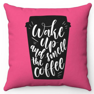 "Wake Up & Smell The Coffee Magenta 18"" Or 20"" Square Throw Pillow Cover"