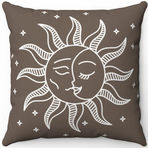 "Sun And Moon 18"" x 18"" Square Throw Pillow"