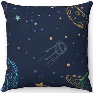 "Colorful Space Planets 18"" x 18"" Square Throw Pillow"
