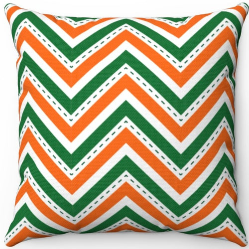 St. Patrick's Day Orange White & Green Chevron Pattern 16