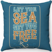 "Load image into Gallery viewer, Let The Sea Set You Free 16"" 18"" Or 20"" Square Throw Pillow Cover"