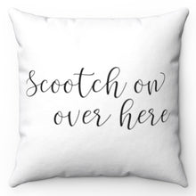 "Load image into Gallery viewer, Scootch On Over Here Black & White 18"" x18"" throw Pillow Cover"