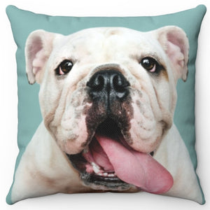 "Bulldog Puppy Tongue 16"" Or 18"" Square Throw Pillow"