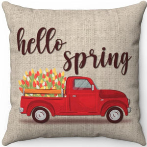 "Hello Spring Vintage Pickup Truck 16"" 18"" Or 20"" Square Throw Pillow Cover"
