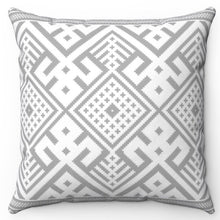 "Load image into Gallery viewer, Grey Aztec 20"" x 20"" Throw Pillow Cover"
