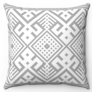 "Grey Aztec 20"" x 20"" Throw Pillow Cover"