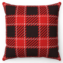 "Load image into Gallery viewer, White Stitch Buffalo Plaid 18"" Or 20"" Square Throw Pillow Cover"