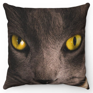 "Cat With Yellow Eyes 18"" x 18"" Throw Pillow Cover"