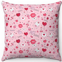 "Load image into Gallery viewer, Love Lips & Hearts Patterned 16"" 18"" Or 20"" Square Throw Pillow Cover"