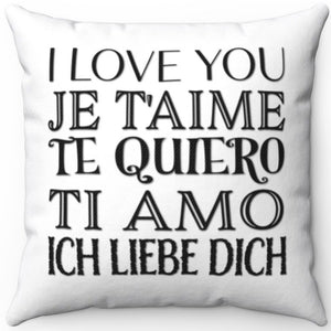 "I Love You In Any Language 16"" 18"" Or 20"" Square Throw Pillow Cover"