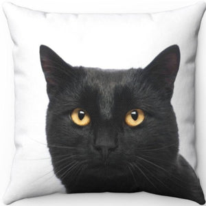 "Midnight The Black Cat 18"" x 18"" Throw Pillow Cover"