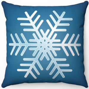 "Blue & White Snowflake 18"" x 18"" Throw Pillow"