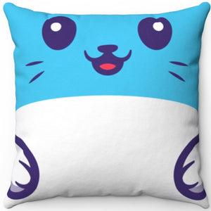 "Cat Face Blue 16"" x 16"" Square Throw Pillow"