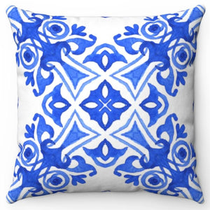 "Blue Watercolor Printed Design 18"" Or 20"" Square Throw Pillow Cover"