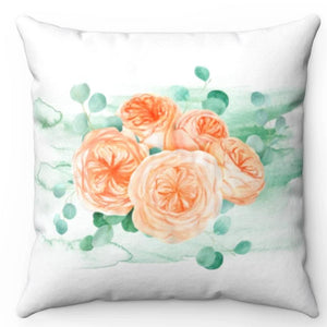 "Pastel Flowers & Eucalyptus 18"" x 18"" Throw Pillow"