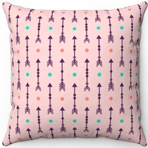"Pastel Pink Abstract Boho Arrows With Fletching 16"" 18"" Or 20"" Square Throw Pillow Cover"