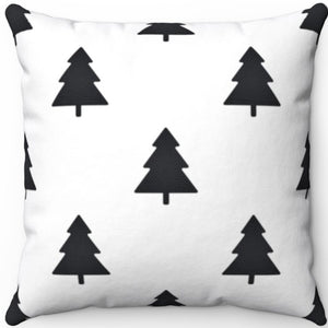 "Black And White Forest 16"" 18"" Or 20"" Square Throw Pillow Cover"