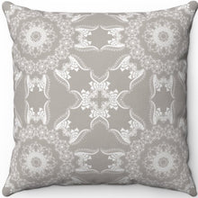 "Load image into Gallery viewer, Delicate Grey & White Filigree Pattern #Ten 18"" x 18"" Square Throw Pillow"