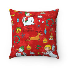 "Load image into Gallery viewer, Snowman And Angels 18"" x 18"" Throw Pillow Cover"